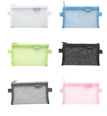 Clear Exam Bag Large Student Transparent Pencil Case Net Cosmetic Makeup Pouch 3