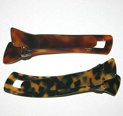 Tortoise Shell Effect Curved Acrylic Hair Beak Clip// Concord Clip Brown// Yellow