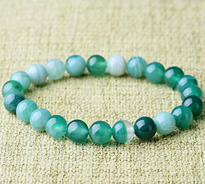 Natural Green Band Agate Repair Crystal Stretch Beaded Bracelet Unisex 4