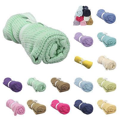 Baby Infant Cellular Cotton Blanket Pram Cot Bed Crib Blanket Multi Colour