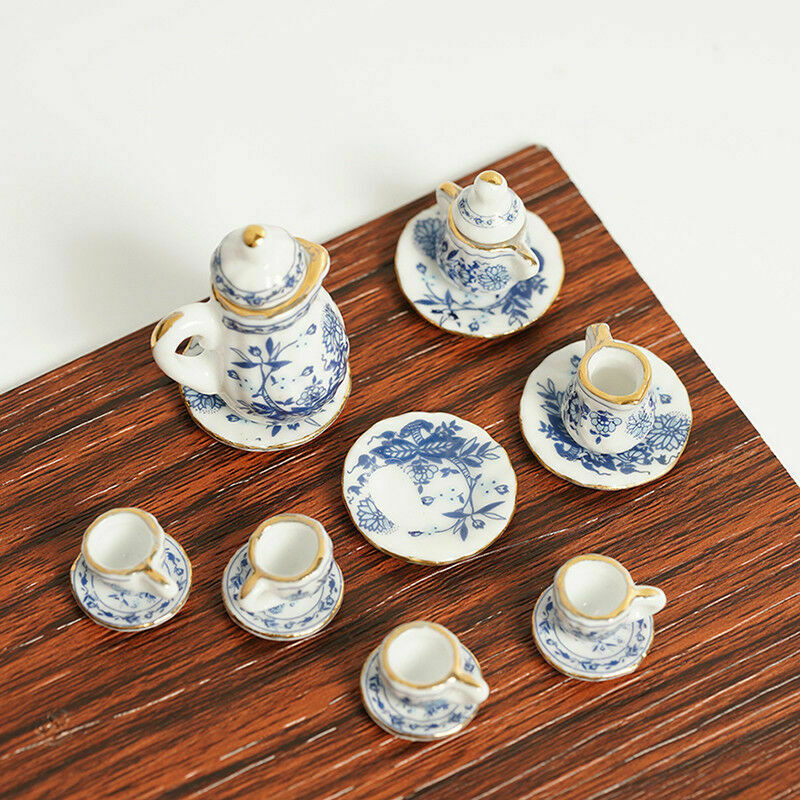 15Pcs Dining Ware Ceramic Blue Flower Set For 1:12 Miniatures Dollhouse A2X8 3