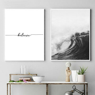Ocean Sea Waves Nordic Poster Wall Art Canvas Prints Seascape Picture Decoration 2