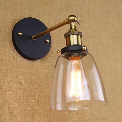 Modern Industrial Antique Brass Arm Wall Sconce Light  Glass Shade Wall Lamp 2