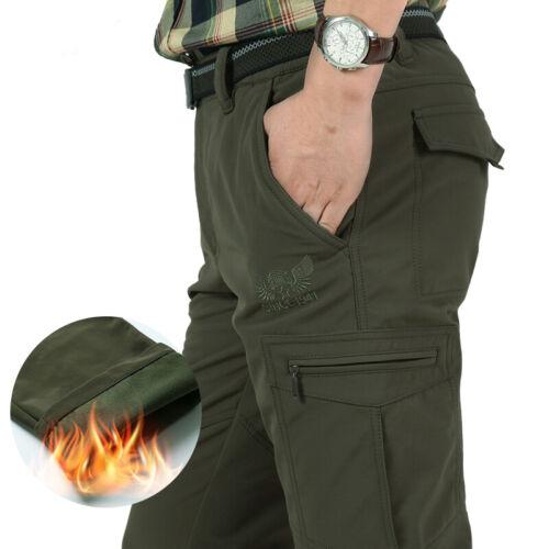 Men's Thermal Winter Pants Fleece Lined Elasticated Work Cargo Combat Trousers 3