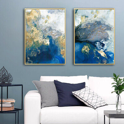 Golden Blue Abstract Poster Canvas Wall Art Abstract Print Modern Home Decor 3