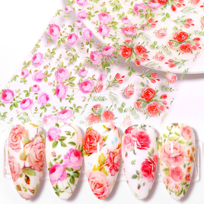 10 Sheets Nail Art Foils Stickers Flower Pattern Transfer Decals Decoration DIY 2