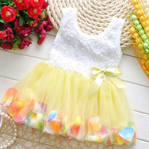 Newborn Flower Pageant Princess Dress Baby Girl Wedding Party Tutu Dresses 6-24M 3