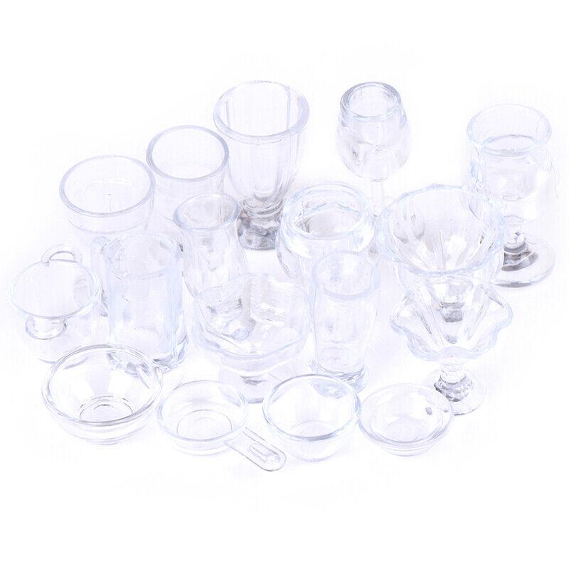 17Pcs/Set 1:12 Dollhouse Miniature Transparent Tableware DIY Kitchenware Toys 4