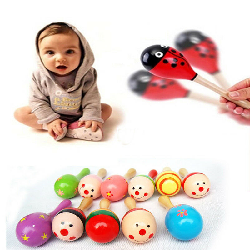 1X Baby Kids Sound Music Gift Toddler Rattle Musical Wooden Intelligent Toy 6