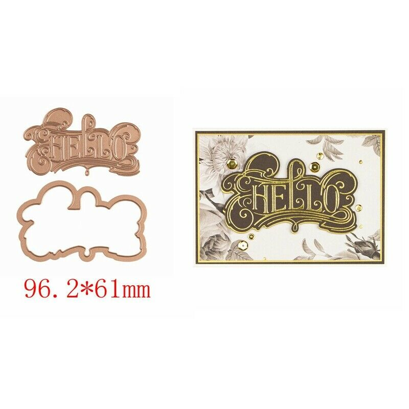 Greetings Wishes Word Hot Foil Plates Dies Stencil Embossing Craft Scrapbooking 2