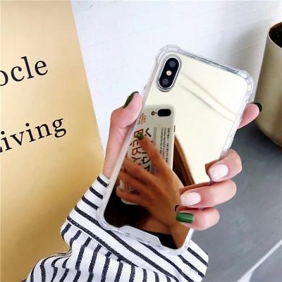 For iPhone 8 X 7 6S Plus XS Shockproof Armor Luxury Mirror Hard Back Case Cover 9