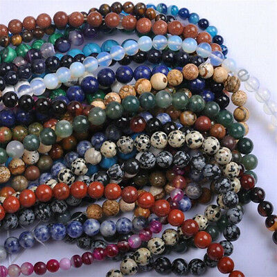 Natural Gemstone Round Spacer Loose Beads 4MM 6MM 8MM 10MM  Assorted Stones 2