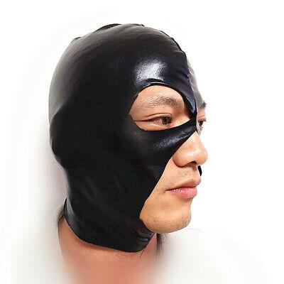 Sexy Leder LaTeX Haube Schwarze Maske Atmungsaktive Fetisch BDSM Bondage Maske 3
