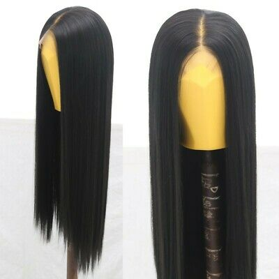 """AU 24"""" Natural Straight Synthetic Fiber Hair Handtied Off Black Lace Front Wig 6"""