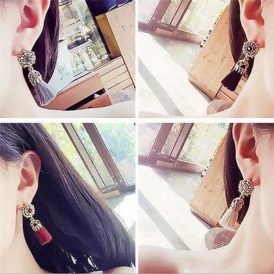 Women Thread Long Tassel Earrings Rhinestone Drop Statement Fringe Earrings 2