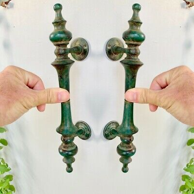 """2 large DOOR handle pull solid real 2 SPUN 100% brass antique green12 """" B 2"""