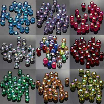 50/100Pcs Acrylic Round Plated AB Loose Spacer Beads Crafts Jewelry Findings DIY 10