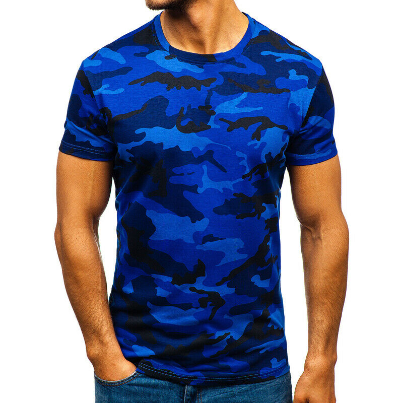Mens City Camouflage Tactical Military Short Sleeve Army Camo T-Shirt Blouse Top 12