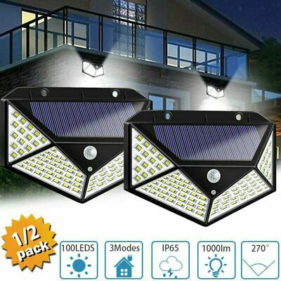 2x Lampe Solaire à 100 LED Détecteur de Mouvement Spots Éclairage Mural Jardin 9