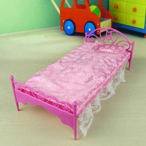 Fashion plastic bed bedroom furniture fr barbie dolls dollhouse pink hotsale aud Plastic bedroom furniture