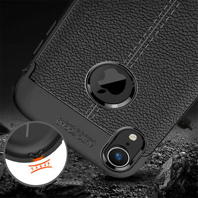 For iphone Xs Max Xr X 8 7 6S Silicone Rubber TPU Leather Slim Back Cover Case 6
