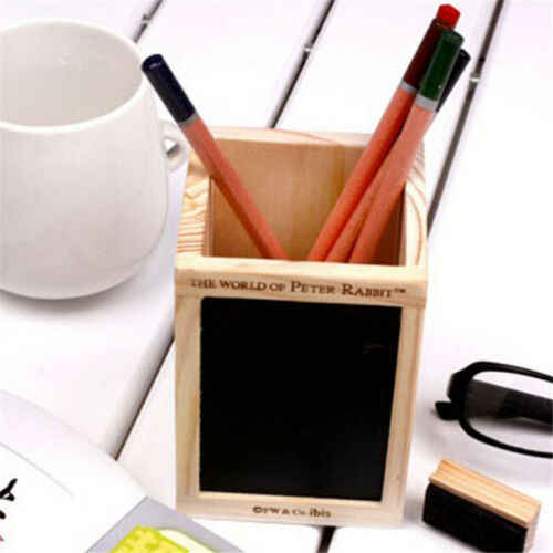 Bamboo Wood Desk Pen Pencil Holder Cup Stand Square Small Office Stationery LH 2