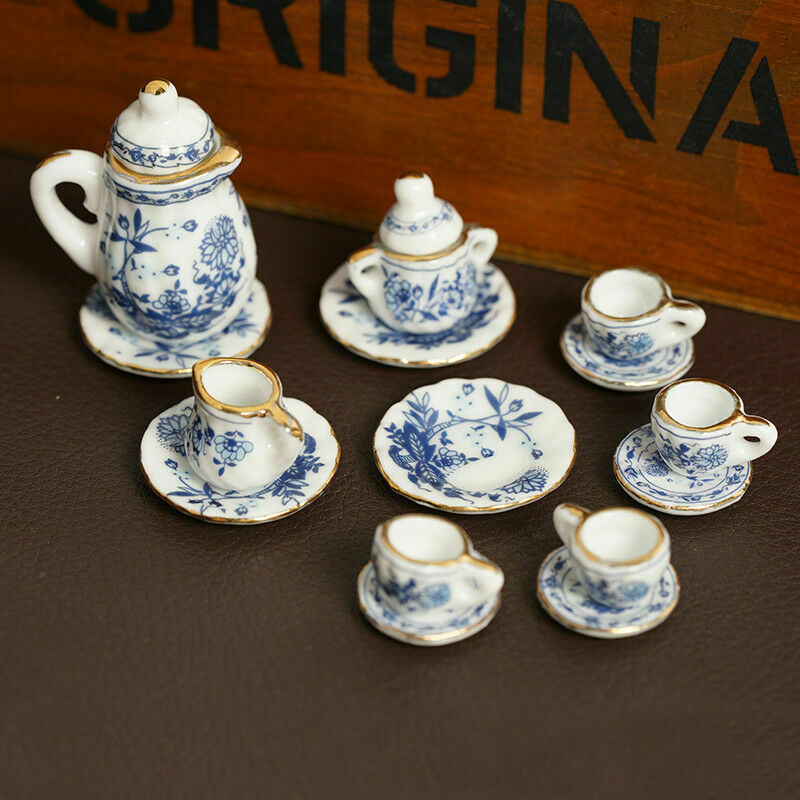 15Pcs Dining Ware Ceramic Blue Flower Set For 1:12 Miniatures Dollhouse A2X8 2