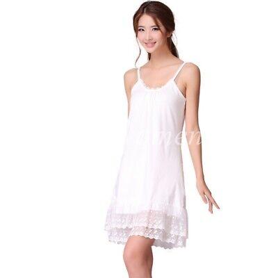 ... Vintage Lace Trim Long Full Length Camisole Slip Top  Cami Dress  Extender 6 dc174f75280f