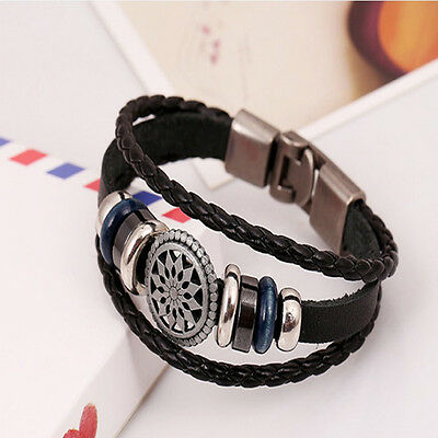 Unisex Women Men Cool Punk Metal Studded Trendy Wristband Leather Bracelet 7