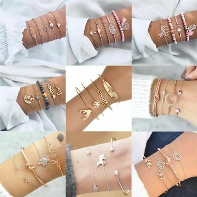 Women Stainless Steel Open Cuff Bracelet Bangle Chain Wristband Jewelry Gift New 11
