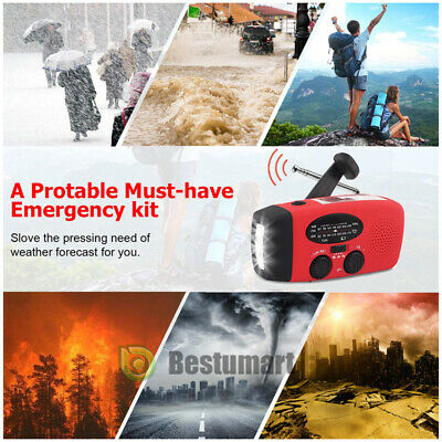 1000mAh Emergency Solar Hand Crank Radio NOAA Weather w/AM/FM LED Flashlight SOS 9
