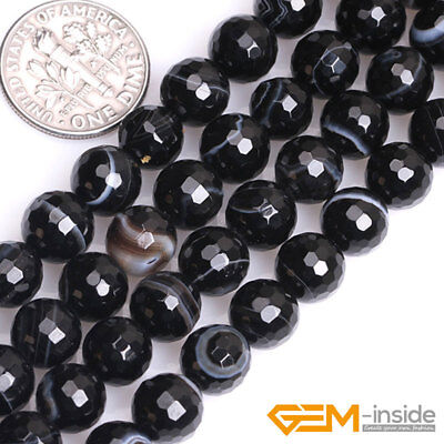 """Natural Faceted Gemstone Black Stripe Agate Round Beads For Jewelry Making 15""""Y 4"""