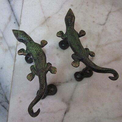 Antique Door wardrobe Handles Brass Cupboard Puller Vintage Pairs Gecko Reptiles 2