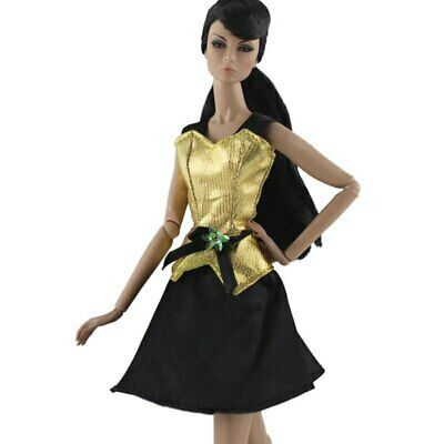 """Gold Black Fashion Short Dress For 11.5"""" 1/6 Doll Clothes Outfits Party Gown Toy 2"""