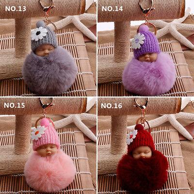 Lovely Sleep Baby Doll Key Chains Rabbit Fur Ball Car Keyring Bag Key Pendant 6
