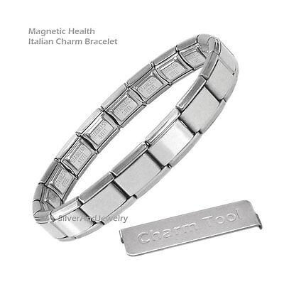 9mm Classic Size Italian Charm Shiny MAGNETIC  Starter Bracelet