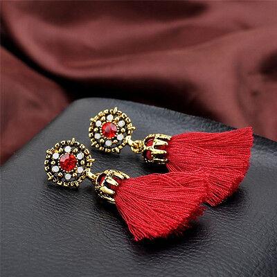 Women Thread Long Tassel Earrings Rhinestone Drop Statement Fringe Earrings 9