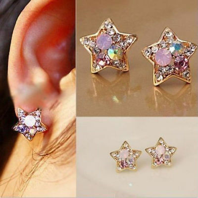 New 1 Pair Elegant Women Crystal Rhinestone Pearl Ear Stud Fashion Earrings Gift 8