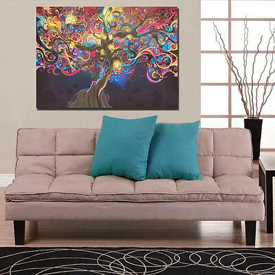 Psychedelic Trippy Tree Abstract Art Silk Fabric Cloth Poster Home Wall Decor 3