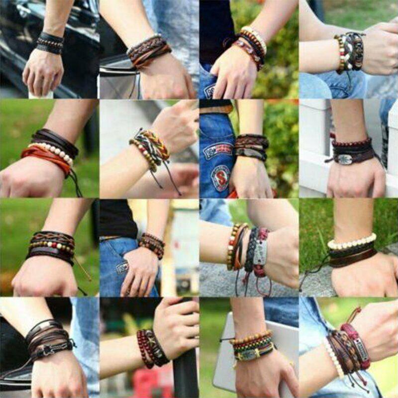 4Pcs Punk Multilayer Leather Bracelet Men's  Women Wristband Bangle Jewelry Set 5