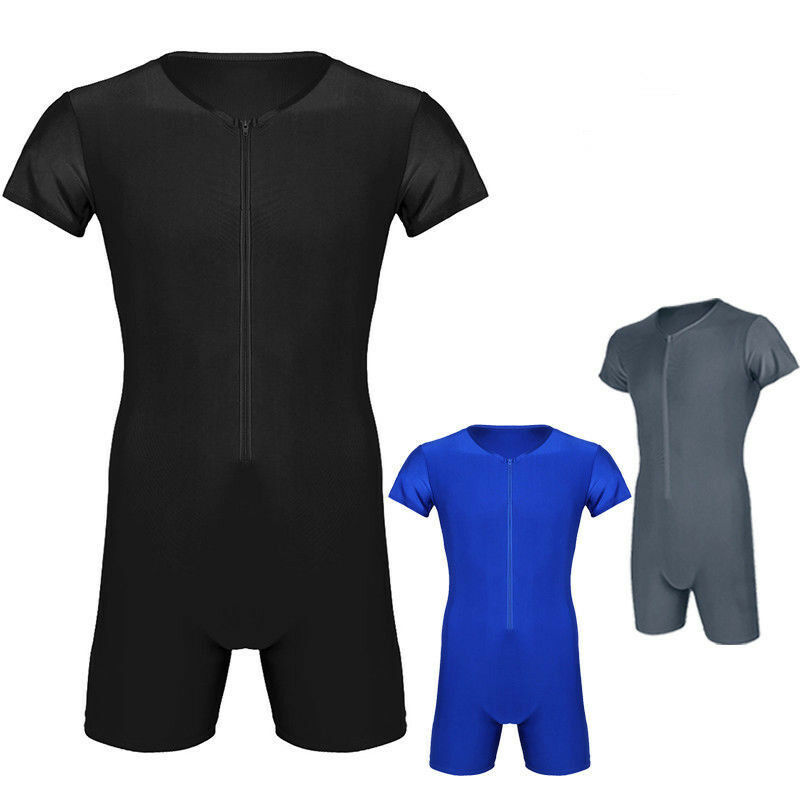 Herren Body Einteiler Zipper Overall Boxer Briefs Bodysuit Unterhemd mit Bein 3