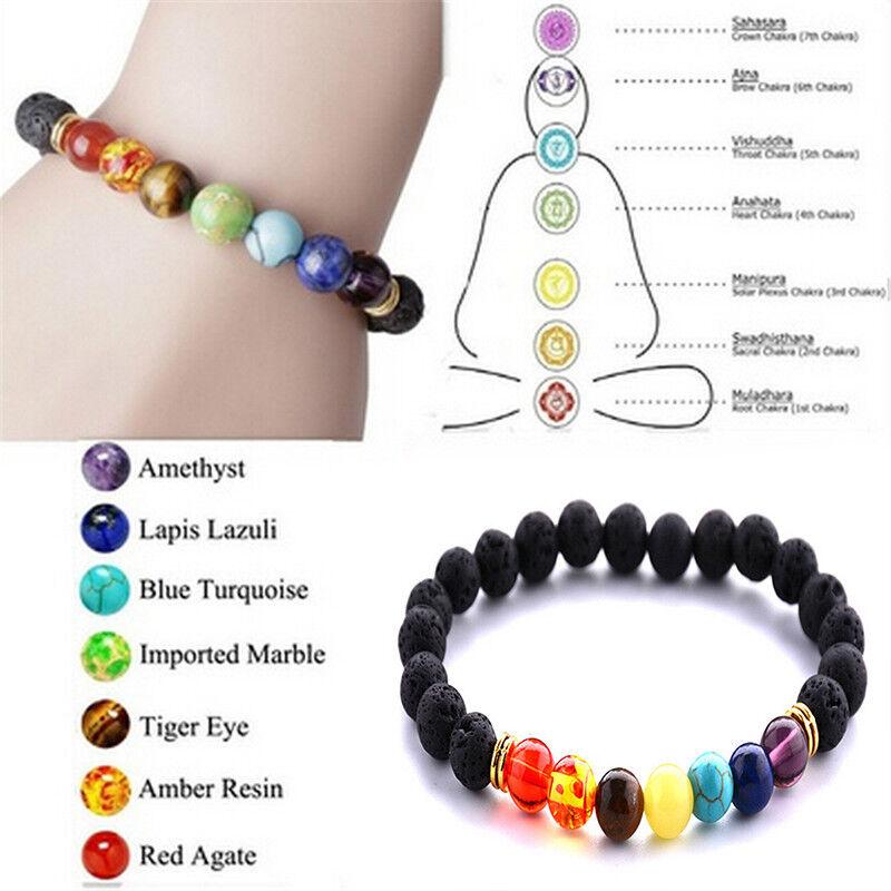 5 Of 12 Reiki 7 Gemstone Chakra Lava Rock Stone Er Healing Bead Bangle Bracelet Uk