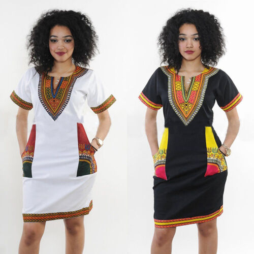 Mode féminine traditionnelle robe africaine Dashiki Imprimer Party Manches cour 3