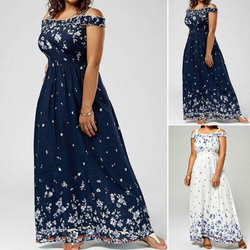 WOMEN FLORAL BOHEMIAN Chiffon Long Boho Maxi Dress Party Plus Size S ...