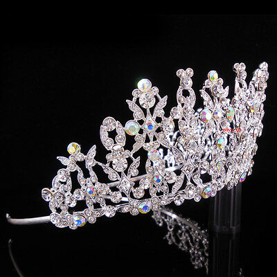 7cm High Large Tiara Crown AB Clear Crystal Wedding Bridal Party Pageant Prom