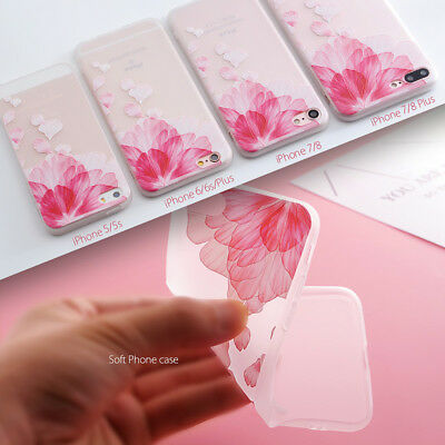 Shockproof Slim Soft TPU Matte Floral Pattern Cover Case For iPhone X 8 6 7 Plus 4