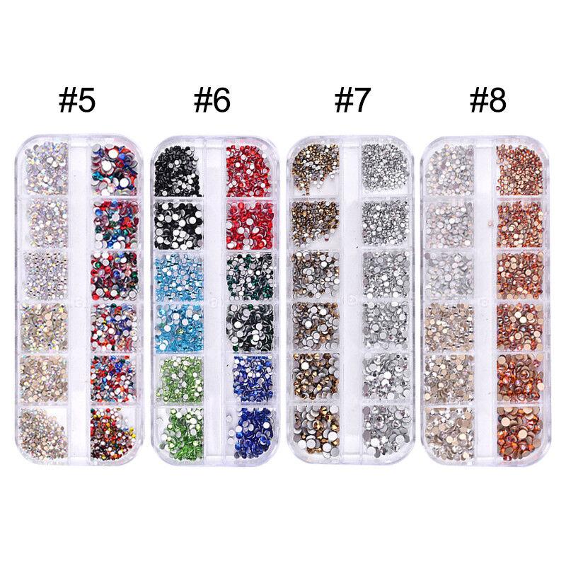 1440pcs Flat Back Nail Art Rhinestones Glitters Diamonds 3D Tip Manicure Decor 4