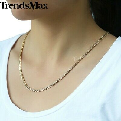 Silver & Gold Braided Wheat Link Gold Filled Necklace Womens Mens Chain Unisex 5