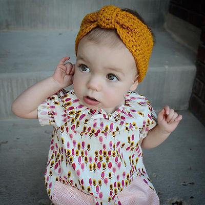 Bébé Fille Bandeau Papillon Nœud Crochet Enfant Serre-tête Cheveux Turban Mignon 6
