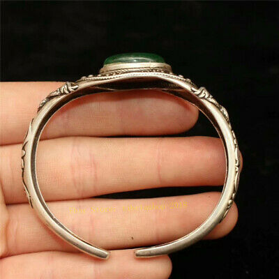 Collect Old Chinese Tibetan silver carved Dragon inlay greenstone jade Bracelet 6